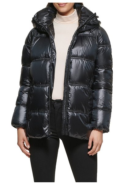Kenneth Cole box quilted puffer jacket with removable hood in black