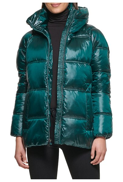Kenneth Cole box quilted puffer jacket with removable hood in forest
