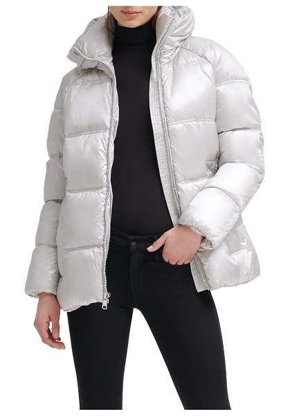 Kenneth Cole box quilted puffer jacket with removable hood in silver