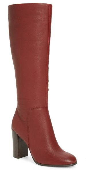 Kenneth Cole justin water resistant knee high boot in burgundy leather