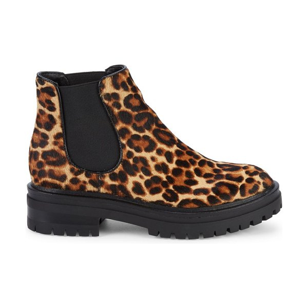 Kenneth Cole Ronnie Leopard Calf Hair Chelsea Boots in natural