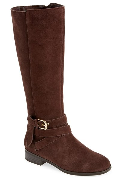 kensie capello knee high boot in brown suede
