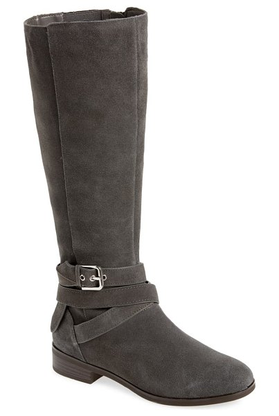 kensie capello knee high boot in slate suede