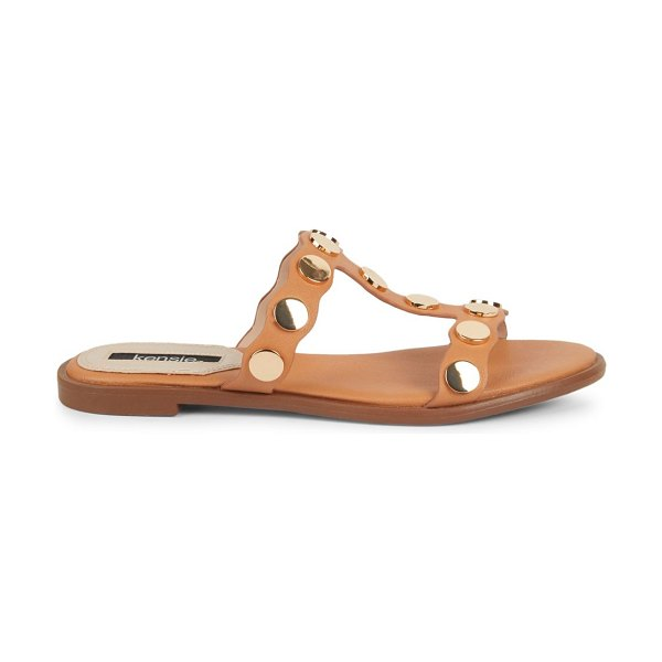 kensie Embellished Open-Toed Sandals in tan
