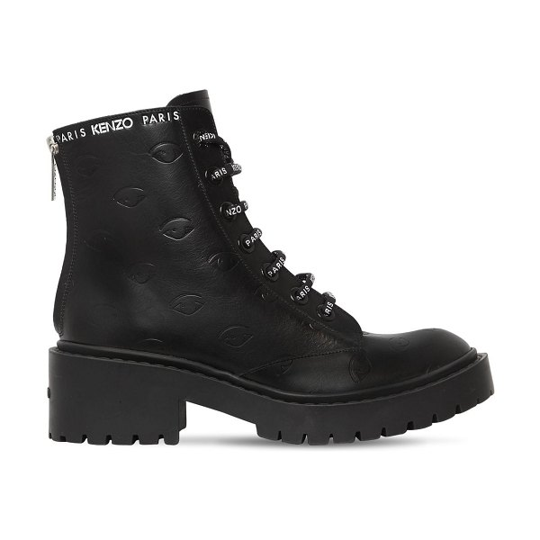 Kenzo 50mm pike logo lace-up leather boots in black