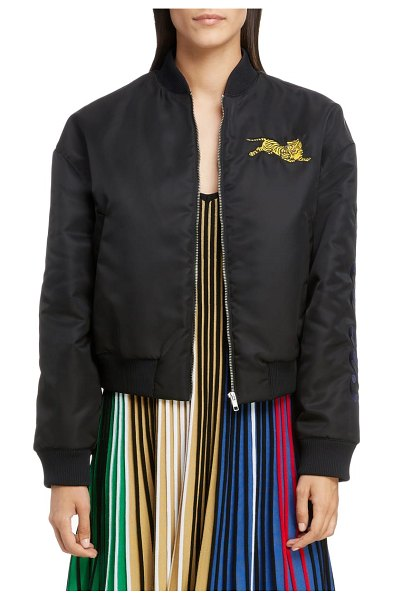 Kenzo bomber jacket in black - A signature growling tiger guards the chest of a...