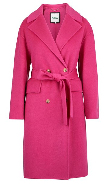 Kenzo Cocoon belted coat in rose begonia