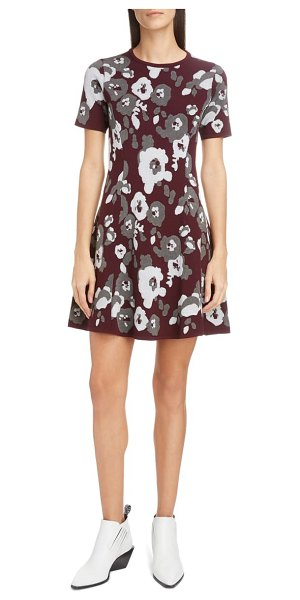Kenzo floral jacquard fit & flare minidress in dove grey
