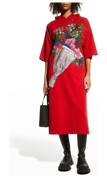 Kenzo Placed Bouquet Hoodie Tunic Dress in medium red
