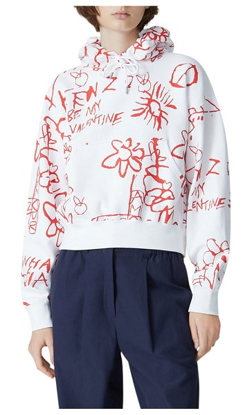 Kenzo Valentine's Day Cropped Hoodie in white