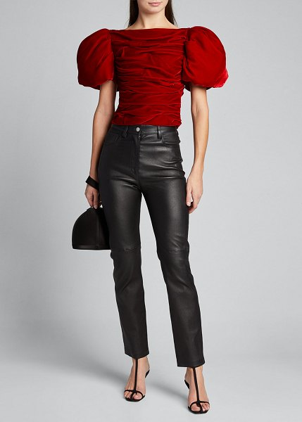 KHAITE Kai Velvet Puff-Sleeve Top in ruby