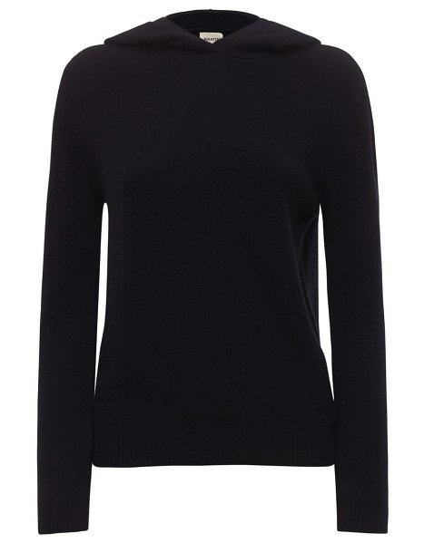 KHAITE Stefka hooded cashmere knit sweater in black