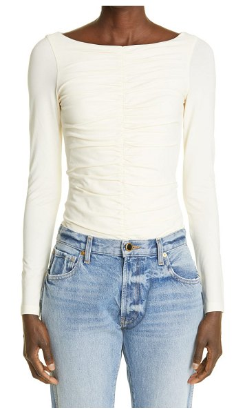 KHAITE the lance ruched stretch cotton top in cream