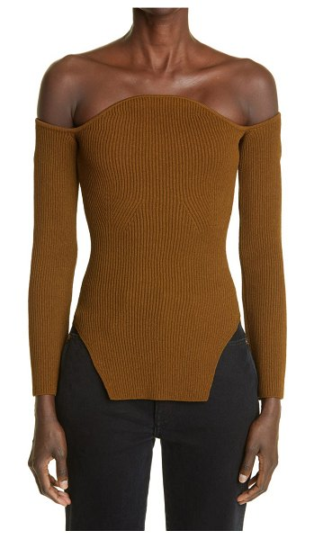 KHAITE the maria off the shoulder rib sweater in absinthe