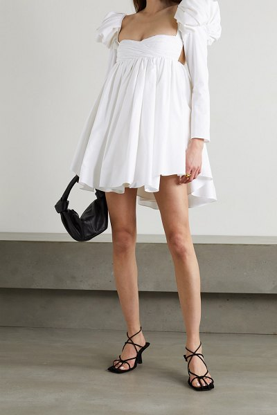 KHAITE tracy crystal-embellished ruched cotton-poplin mini dress in white