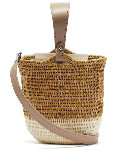 KHOKHO zandi leather trimmed woven bucket bag in white multi