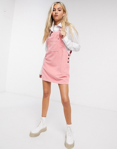 Kickers corduroy overall dress in pink in pink
