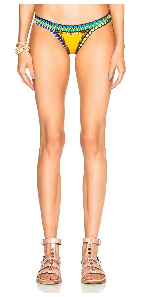 KIINI Ro Bikini Bottom in yellow - Self: 75% poly 14% nylon 11% spandex - Contrast Fabric:...