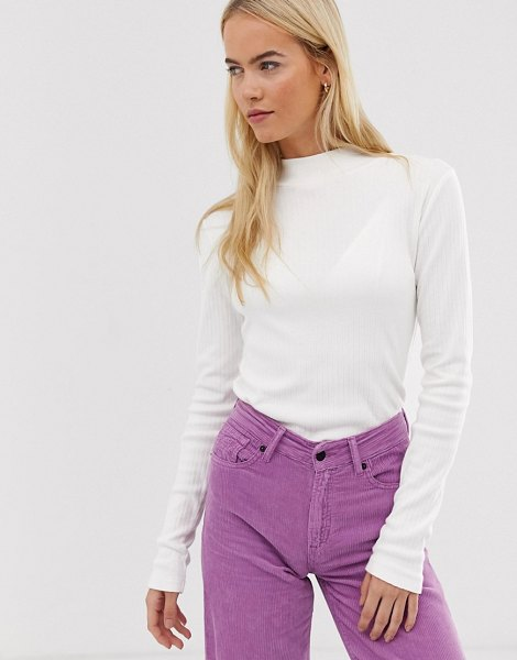 Kings Of Indigo high neck ribbed top in offwhite