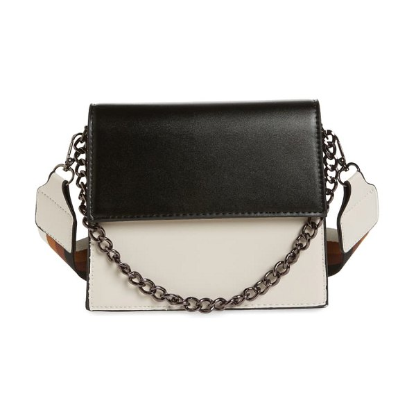 KNOTTY two-tone chain handle crossbody bag in white/ black