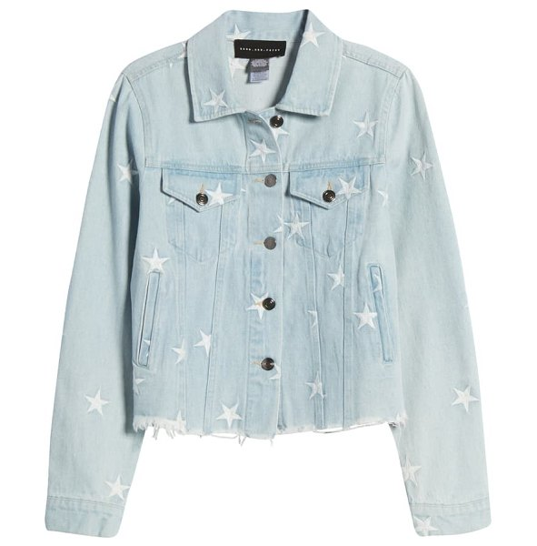 Know One Cares star embroidered denim jacket in denim
