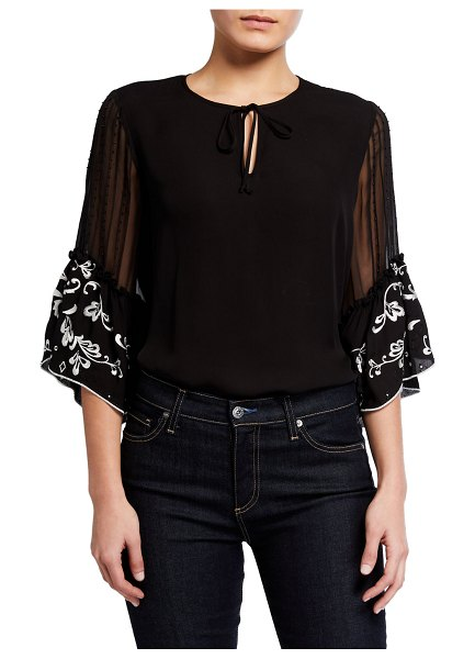 Kobi Halperin Colene Ruffle-Sleeve Silk Blouse in black