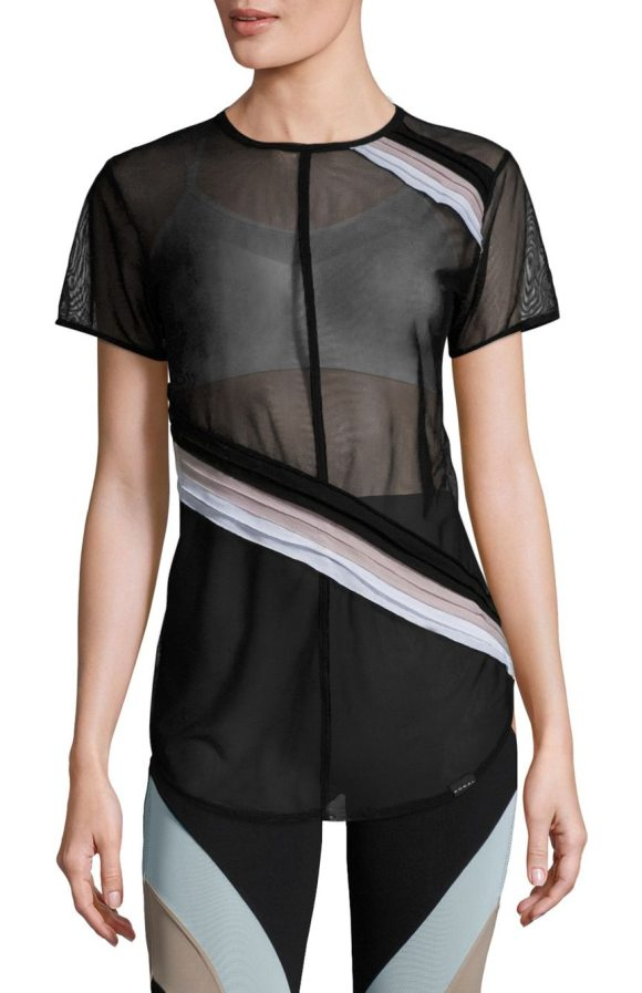 KORAL ACTIVEWEAR cross cut striped mesh top - Pleated, colorblock stripes cut across mesh top....