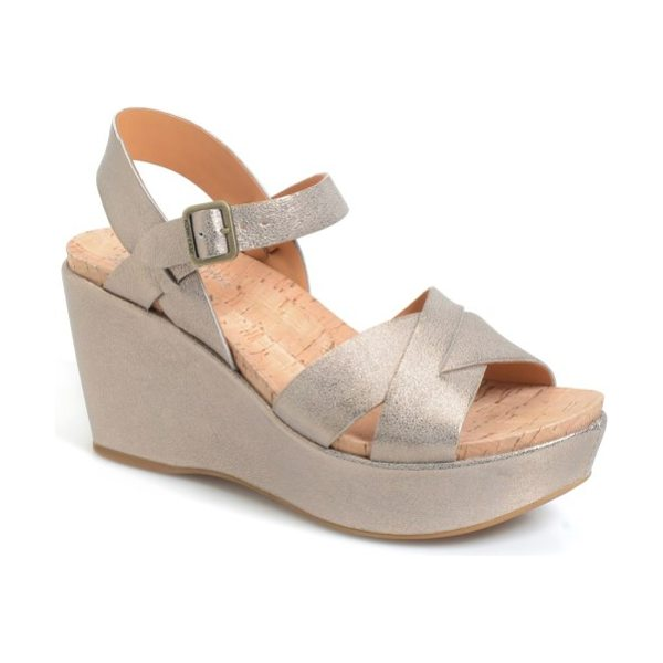 Kork-Ease kork-ease 'ava 2.0' platform wedge sandal in soft gold metallic