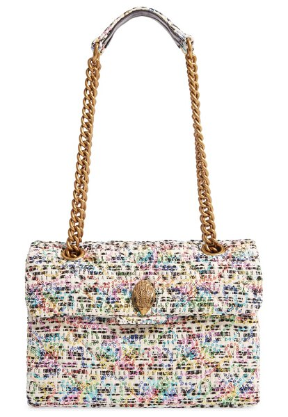 Kurt Geiger London kensington tweed shoulder bag in white/ other