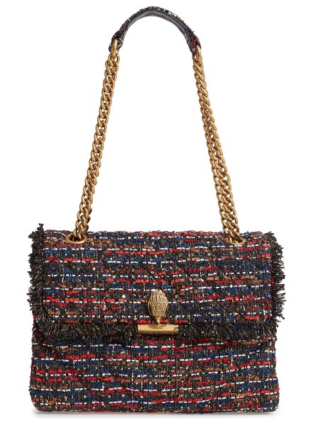 Kurt Geiger London large kensington tweed shoulder bag in red comb