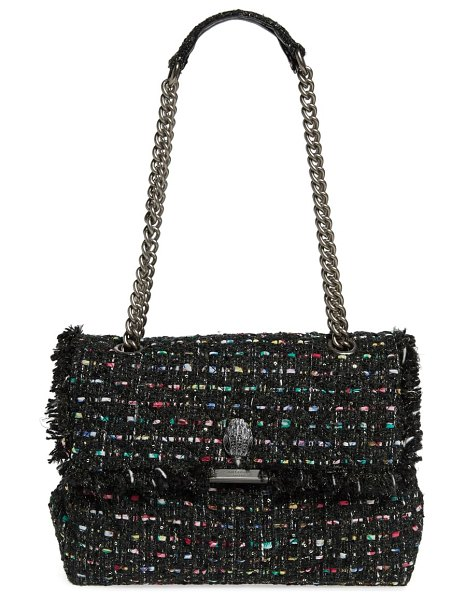 Kurt Geiger London large kensington tweed shoulder bag in black/ other
