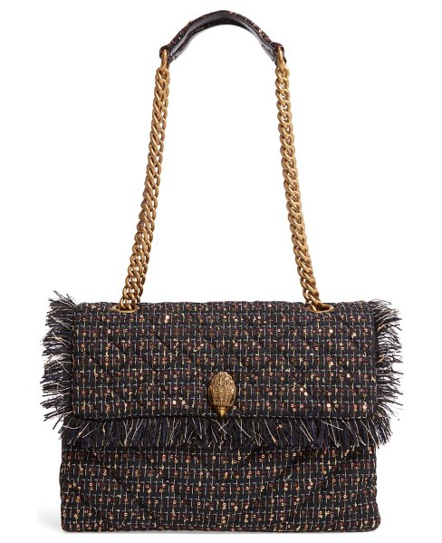 Kurt Geiger London large kensington x tweed shoulder bag in blue/ dark.c