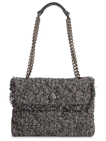 Kurt Geiger London large kensington x tweed shoulder bag in grey