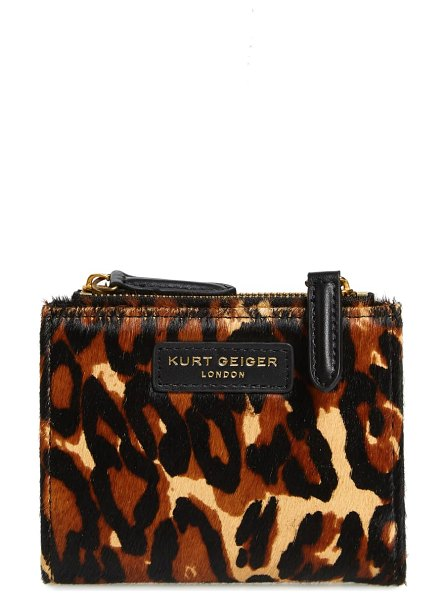 Kurt Geiger London mini genuine calf hair clutch in brown/ other