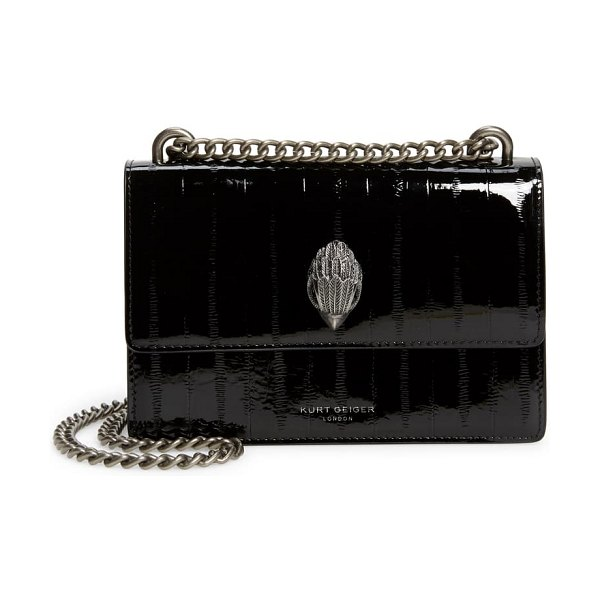 Kurt Geiger London small shoreditch eel embossed patent leather crossbody bag in black