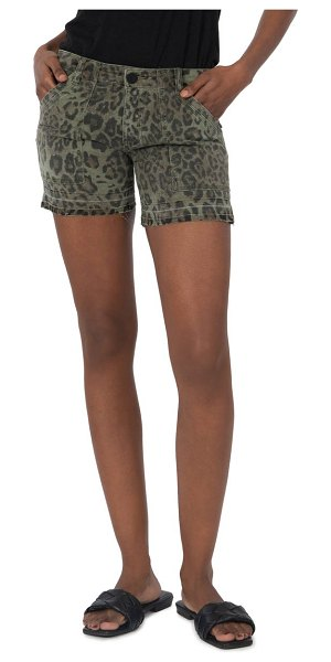 KUT from the Kloth alice animal print release hem shorts in olive