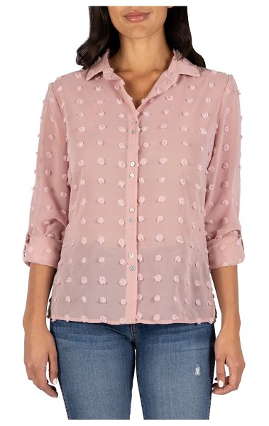 KUT from the Kloth billa clip dot button front shirt in rose
