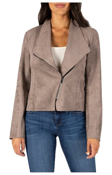 KUT from the Kloth carina faux suede drape moto jacket in buff