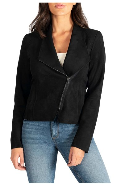 KUT from the Kloth carina faux suede drape moto jacket in black