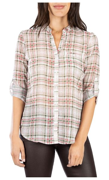 KUT from the Kloth jasmine top in sketchy plaid ivory