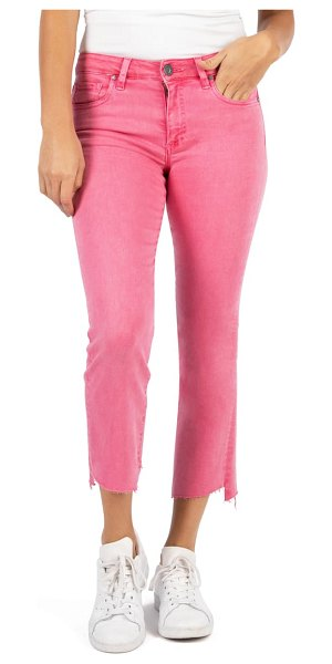 KUT from the Kloth kelsey high waist raw hem ankle flare jeans in pink