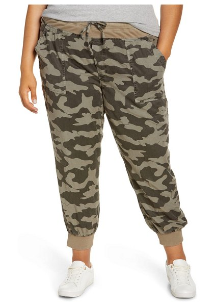 KUT from the Kloth mirabella camo crop joggers in olive