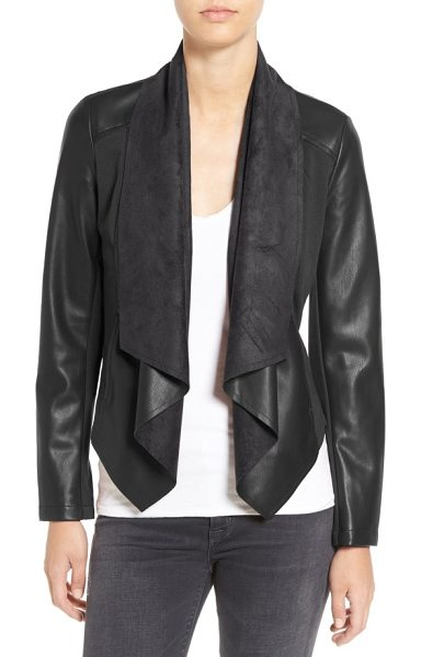KUT from the Kloth 'ana' faux leather drape front jacket in black