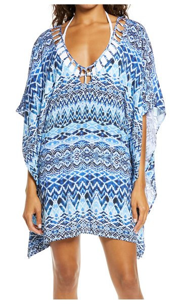 La Blanca oasis ikat tunic cover-up in blue