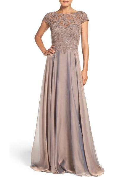 La Femme lace & satin a-line gown in cocoa