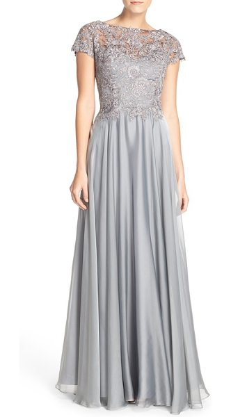 La Femme lace & satin a-line gown in platinum