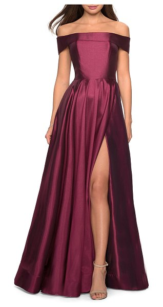 La Femme Off-the-Shoulder Satin A-Line Gown with Slit in red