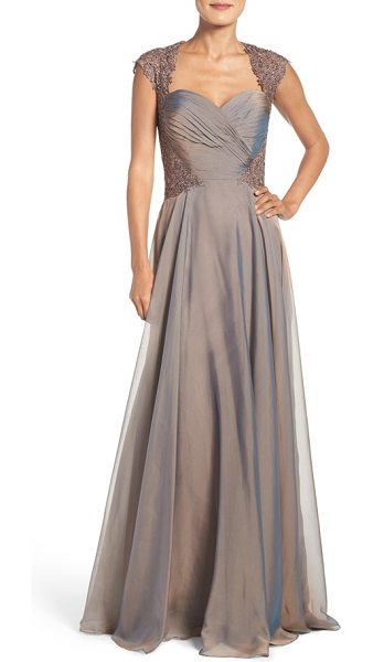 La Femme ruched chiffon a-line gown in cocoa