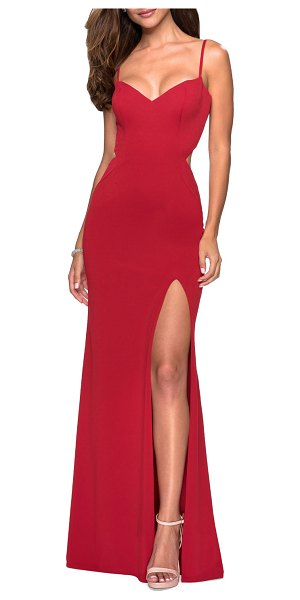 La Femme V-Neck Sleeveless Strappy-Back Jersey Gown in red - La Femme jersey gown with strappy back detailing and...