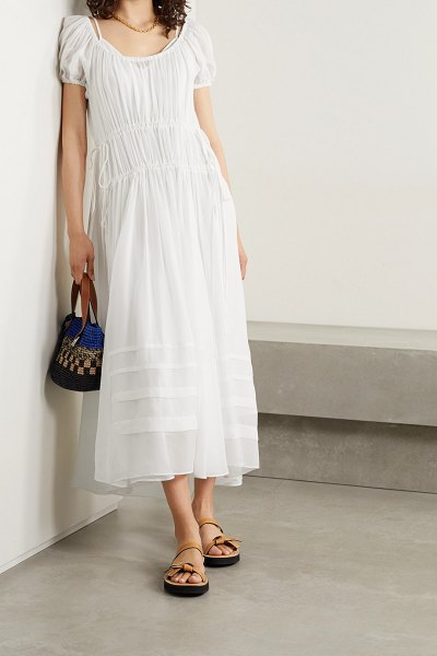 La Ligne isabelle gathered silk-chiffon maxi dress in white